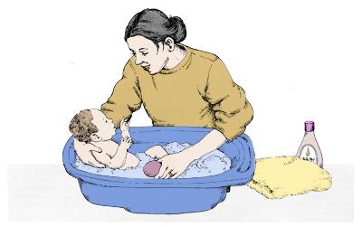 Tome cuidado no momento em que estiver banhando ele, para ele não escorregar de seus braços e se machucar.
