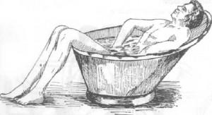 Verifique a temperatura da água antes de sentar, pois se estiver ferido, pode ser que ela te machuque mas ainda.