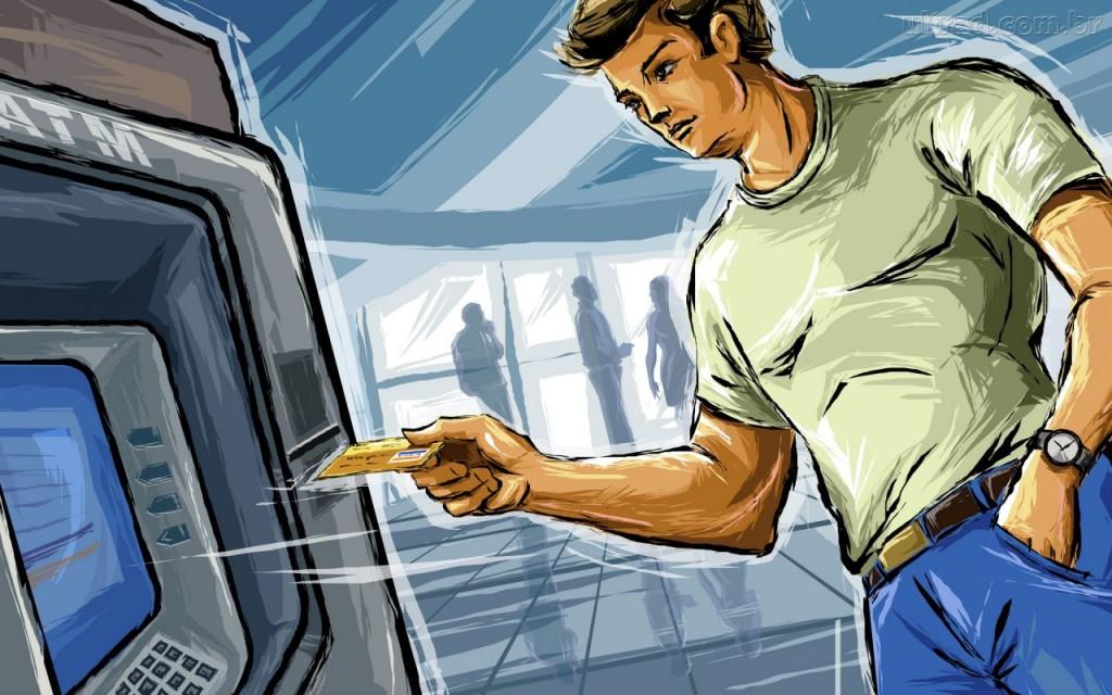 Tome cuidado ao sacar dinheiro. Veja se não tem ninguém olhando a sua senha ou até mesmo lhe aguardando do lado de fora do banco.
