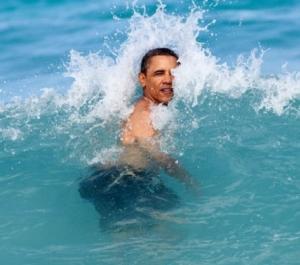 O presidente dos EUA tentando se livrar de uma onda.