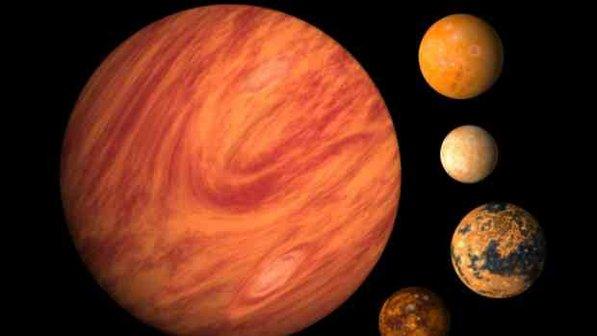 As luas de Júpiter, não se formam em uma sequência, mas se repararmos bem, algumas ficam enfileiradas.